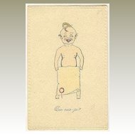 ca. 1920: Is this Me? – Lovely French Postcard, Baby Boy.