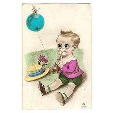Ca. 1920: Postcard, moveable Eyes. Boy, Ballon and Bird