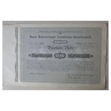 1897, Imperial Austria: Bukowinaer Local Railway Certificate: Priority Share