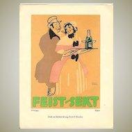 Decorative Litho Print for Feist Sparkling Wine 1914