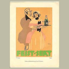 Decorative Litho Print for Feist Sparkling Wine 1914