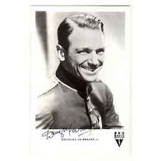 Fine Douglas Fairbanks Jr. Autograph. Photo Postcard. CoA