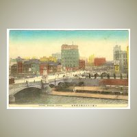 Ca. 1920: Old Japan: Osaka, Nanba Bridge. Tinted Postcard.