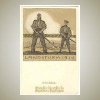 W.W.I: Litho Postcard for Red Cross: Landsturm 1914