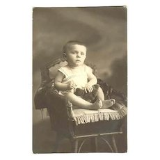 Baby Girl with her Teddy Bear. Vintage Photo from Europe. Ca. 1910