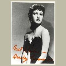 Dorothy Lamour Autograph 4 x 5.8. CoA