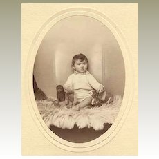 Baby with Teddy Bear and Toys. Larger Studio Photo. Ca. 1915