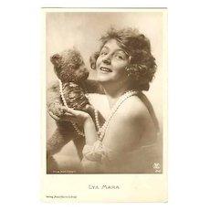 Ca. 1920: Movie Star Lya Mara with Teddy Bear.