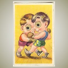 Funny vintage Postcard: 2 Boxers, moveable eyes.