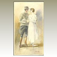 Nice original Watercolor of Soldier and Bride from 1918