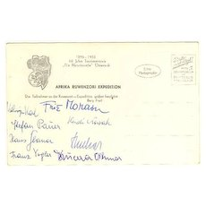 1955: Austrian Ruwenzori Expedition. Fritz Morawetz Autograph