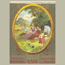 1914: Large Calendar – Ad for Mineral Water. Litho Art Nouveau Design