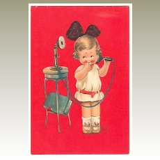 Cute Postcard: A sweet little Girl making a Phone Call