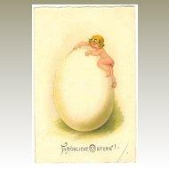 Happy Easter: Cute little Girl climbing up a huge Easter Egg. Litho Postcard.