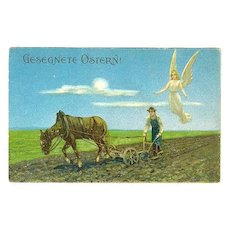 1915: Embossed, lithographed Postcard of Peasant and Guarding Angel.