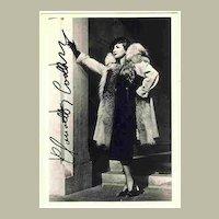Claudette Colbert Autograph on b/w Photo + unsigned Ross Photo. COA