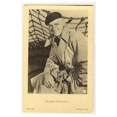 Douglas Fairbanks Jr. Autograph on early Ross Postcard. CoA