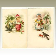 2 vintage Postcards: Kids and Craws. Chromolithographs