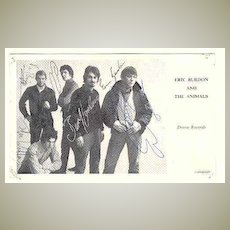 Eric Burdon Autograph from late1960s. CoA