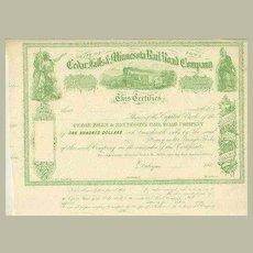 Cedar Falls & Minnesota Rail Road Company 1860s