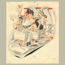 Watercolour: Playboy, feasting with 2 Ladies. 1940s, Austria