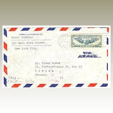 WWII: Air Mail New York to Wien, Censored