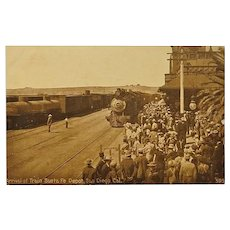 Arrival of Train Santa Fe Depot Vintage Postcard