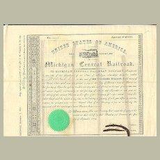 Michigan Central Railroad Company. Old attractive Share from 1854