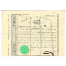 Michigan Central Railroad Company. Old attractive Share from 1854