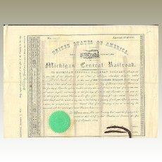 1854: Michigan Central Railroad Company. Old attractive Share
