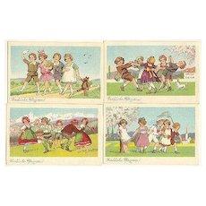 Set of 4 Picture postcard: Austrian Kids celebrating Pentecost