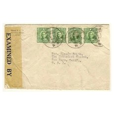 Republic of China, WWII: Censored Cover to USA