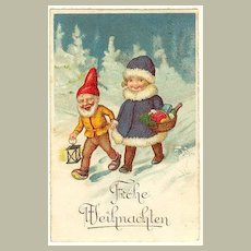 Lovely Xmas Litho Postcard. Dwarf and Girl.