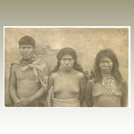 Vintage Photo Postcard South American Indians, ca. 1918
