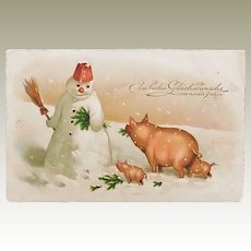 Happy New Year: Snow Man and Pigs