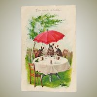 Happy Pentecost: Chafer, Frogs. Litho Postcard
