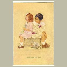 Kids and Doll.Vintage Postcard by Jobst.