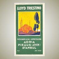 Lloyd Triestino Program from 1930. Decorative.