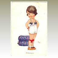 Cute Postcard of little Girl in the Morning.