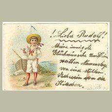 1900: Chromo Litho Postcard of Boy in Sailor's Suite