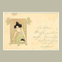 Lady with Mask Early Art Nouveau Postcard