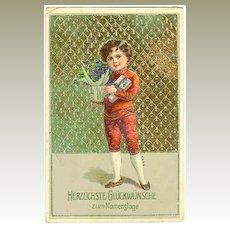 1912:  Happy Saint's Day. Embossed Vintage Postcard
