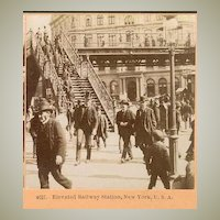 Elevated Railway Station N.Y.: Old Stereo Photo
