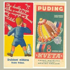 2 Advertising Labels: Pudding and Milk. 1930-40s.