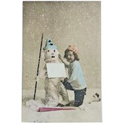 Tinted Postcard Snowman and Girl, 1907