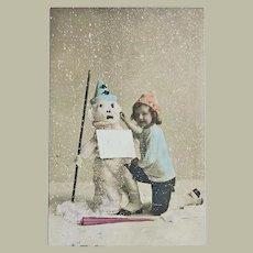 Tinted Postcard Snowman and Girl, 1907