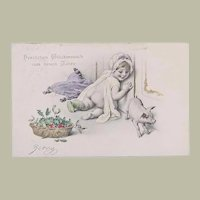 1904: New Years Postcard by H. C. Vienne: Baby and Piglet