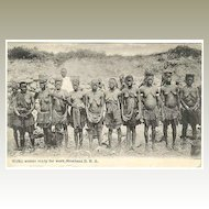 Wuika Women ready for Work: Old Mombasa Postcard