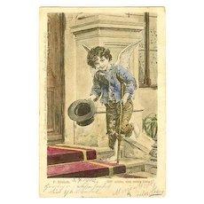 Little Beggar Boy as Angel: Vintage Postcard from 1902