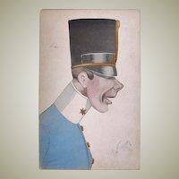 Mocking Postkarte K.u.K. Soldier. Tinted, Artist signed
